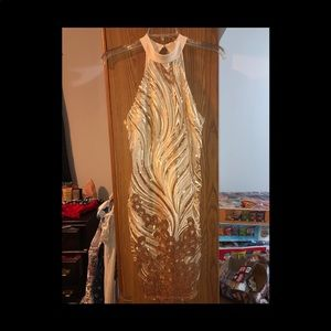 Gold and cream Prom Dress